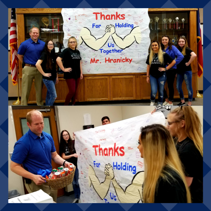 Today Student Council officers made a morning announcement letting everyone know that October is National Principal Appreciation Month & thanking Mr. Hranicky for all he does for us here at Broaddus Jr/High School.