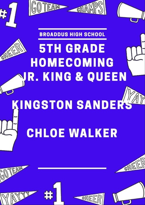 5th Grade Homecoming Jr. King & Queen Kingston Sanders & Chloe Walker