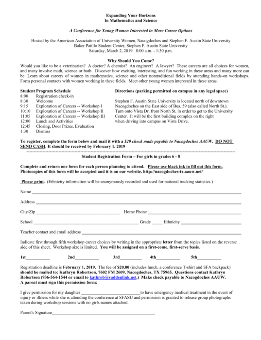 Expanding Your Horizons Conference Form