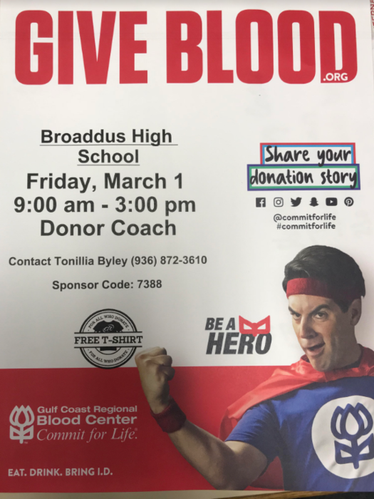 High School Blood Drive Friday, March 1 9:00 am - 3:00 pm