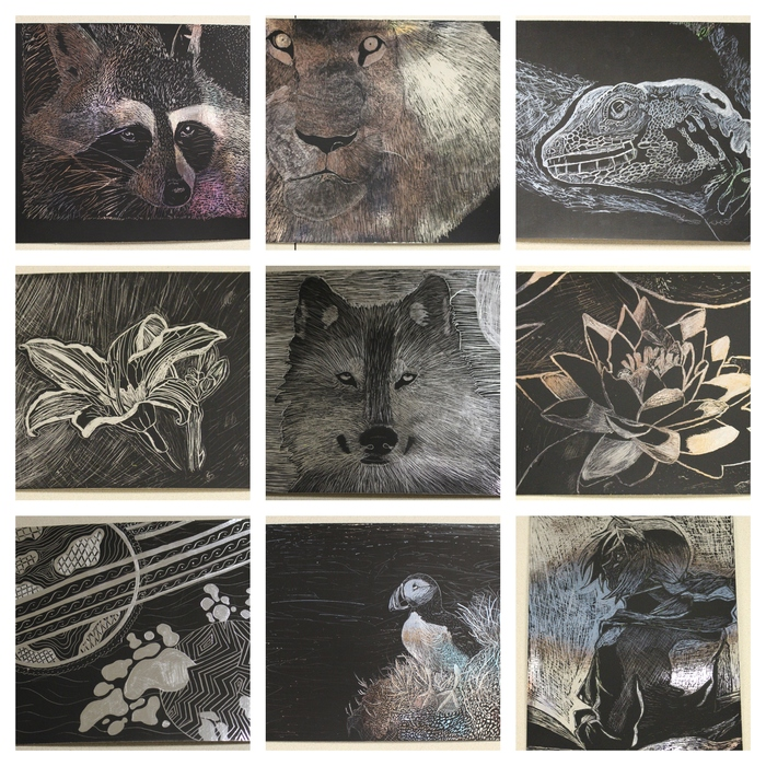 Look what's happening in the Art Room! A few weeks ago high school students began working on scratch board. Students used hatching and cross hatching techniques to re-create their image. The results were amazing!