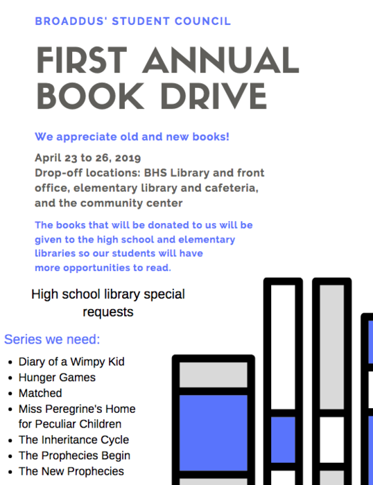 BROADDUS' STUDENT COUNCIL FIRST ANNUAL BOOK DRIVE We appreciate old and new books! April 23 to 26, 2019  Drop-off locations: BHS Library and front office, elementary library and cafeteria, and the community center The books that will be donated to us will be given to the high school and elementary libraries so our students will have more opportunities to read.  High school library special requests:  Series we need:  Diary of a Wimpy Kid Hunger Games Matched Miss Peregrine's Home for Peculiar Children The Inheritance Cycle The Prophecies Begin The New Prophecies
