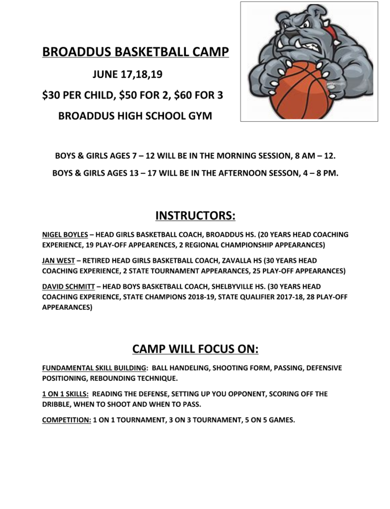 BROADDUS BASKETBALL CAMP  JUNE 17,18,19 $30 PER CHILD, $50 FOR 2, $60 FOR 3  BROADDUS HIGH SCHOOL GYM BOYS & GIRLS AGES 7 – 12 WILL BE IN THE MORNING SESSION, 8 AM – 12. BOYS & GIRLS AGES 13 – 17 WILL BE IN THE AFTERNOON SESSON, 4 – 8 PM. INSTRUCTORS: NIGEL BOYLES – HEAD GIRLS BASKETBALL COACH, BROADDUS HS. (20 YEARS HEAD COACHING EXPERIENCE, 19 PLAY-OFF APPEARENCES, 2 REGIONAL CHAMPIONSHIP APPEARANCES) JAN WEST – RETIRED HEAD GIRLS BASKETBALL COACH, ZAVALLA HS (30 YEARS HEAD COACHING EXPERIENCE, 2 STATE TOURNAMENT APPEARANCES, 25 PLAY-OFF APPEARANCES) DAVID SCHMITT – HEAD BOYS BASKETBALL COACH, SHELBYVILLE HS. (30 YEARS HEAD COACHING EXPERIENCE, STATE CHAMPIONS 2018-19, STATE QUALIFIER 2017-18, 28 PLAY-OFF APPEARANCES) CAMP WILL FOCUS ON: FUNDAMENTAL SKILL BUILDING: BALL HANDELING, SHOOTING FORM, PASSING, DEFENSIVE POSITIONING, REBOUNDING TECHNIQUE. 1 ON 1 SKILLS: READING THE DEFENSE, SETTING UP YOU OPPONENT, SCORING OFF THE DRIBBLE, WHEN TO SHOOT AND WHEN TO PASS. COMPETITION: 1 ON 1 TOURNAMENT, 3 ON 3 TOURNAMENT, 5 ON 5 GAMES.