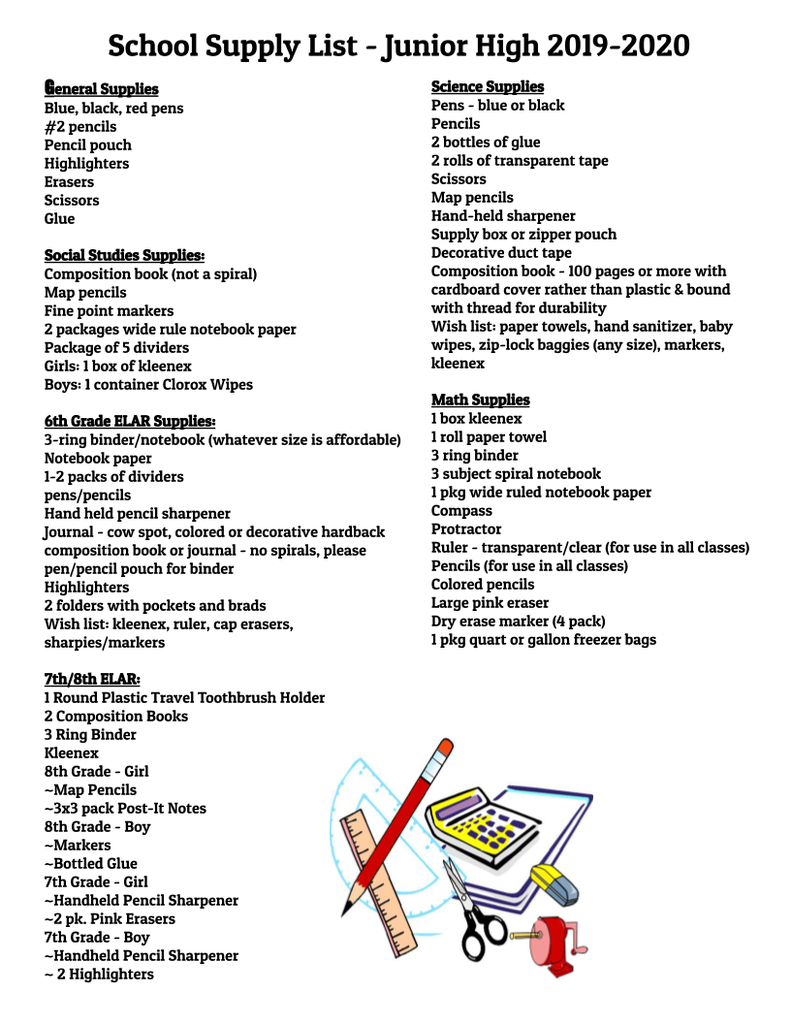 Junior High Supply List