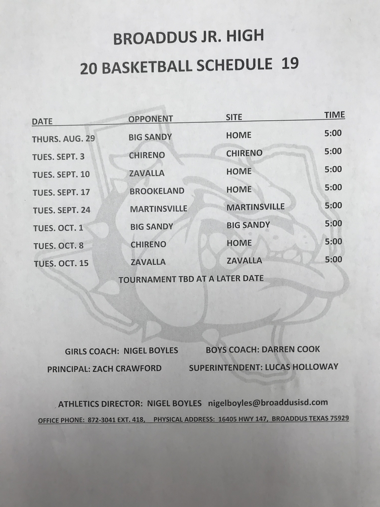 Jr High Basketball Schedule