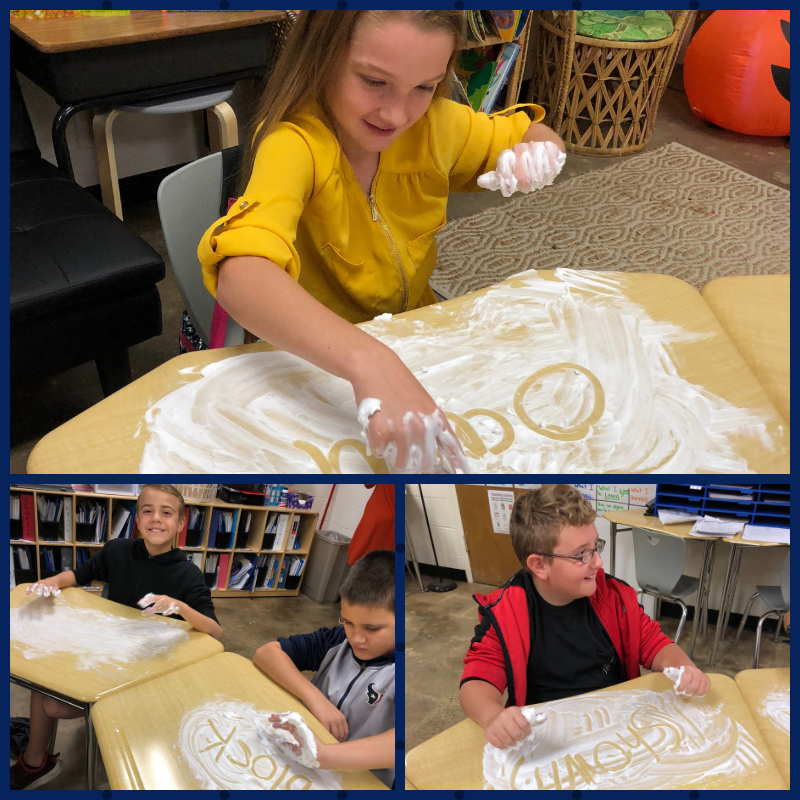 Mrs, Crawford's class was having some shaving cream fun while reviewing their spelling words.