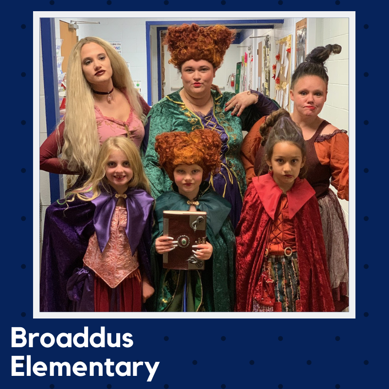 Teachers and Students dress as Hocus Pocus characters.