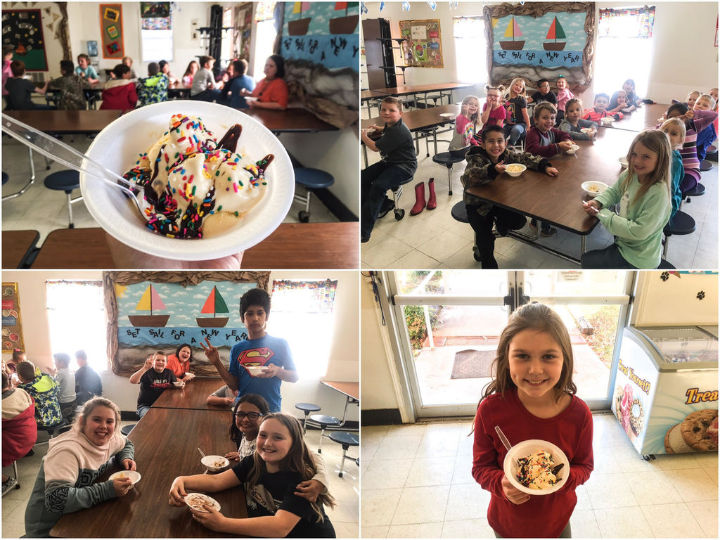 Elementary students enjoyed an Ice Cream Party as a sweet treat for reaching their reading goals this semester!