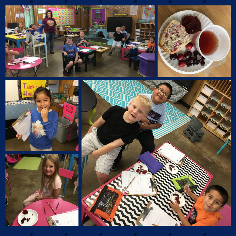 Ms Kaci's first grade had fun learning about the science of cranberries and enjoyed trying five different cranberry tastes.