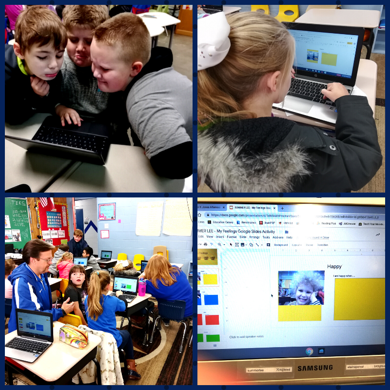 During Fun Tech Friday with Ms. T and Ms. Misty, students investigated their emotions using the camera on on their Chromebook and Google Slides!