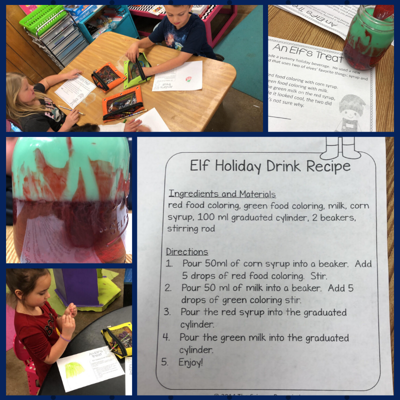 Miss Kaci's class practiced hypothesizing, testing with an experiment and collecting data with their Elf Drink lab!  They also had a lot of fun. :-)