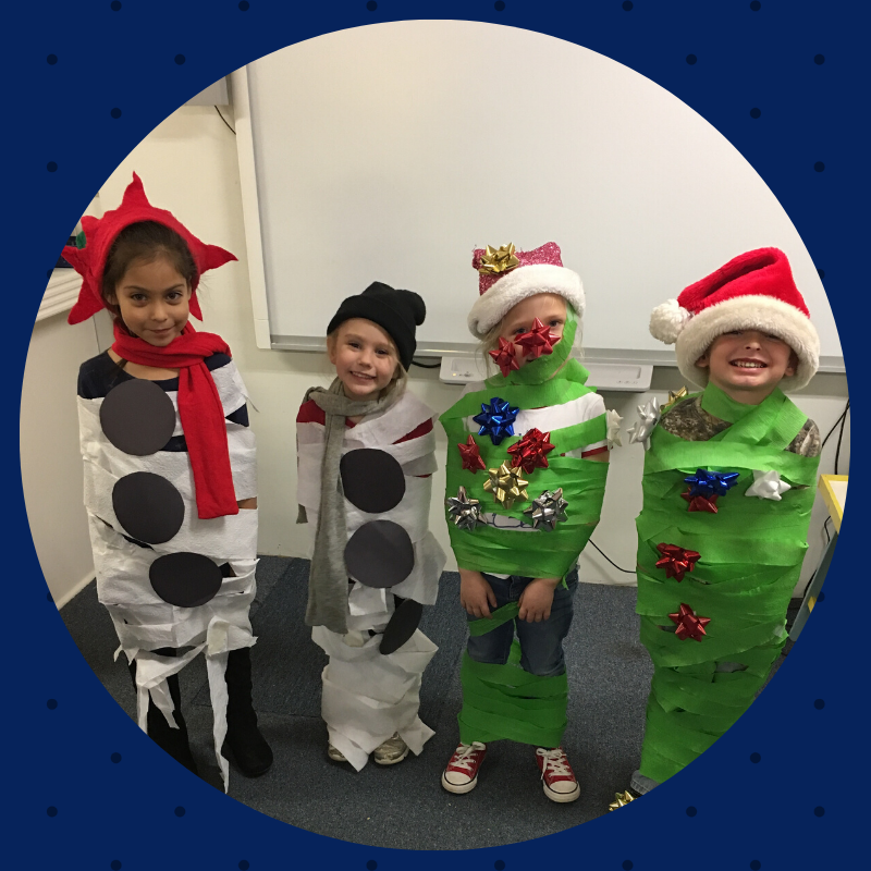 Wrap a Snowman and Wrap a Christmas Tree game at the Pre-K Christmas party! #adorable :-)