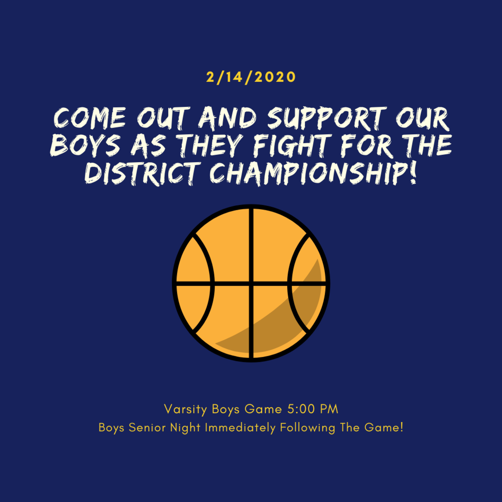 Come out and support our boys as they fight for the District Championship!