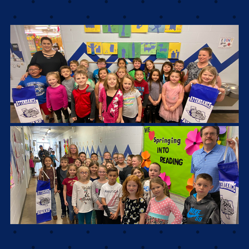 1st & 2nd grade Attendance Banner Winners for 4th 6 Weeks!