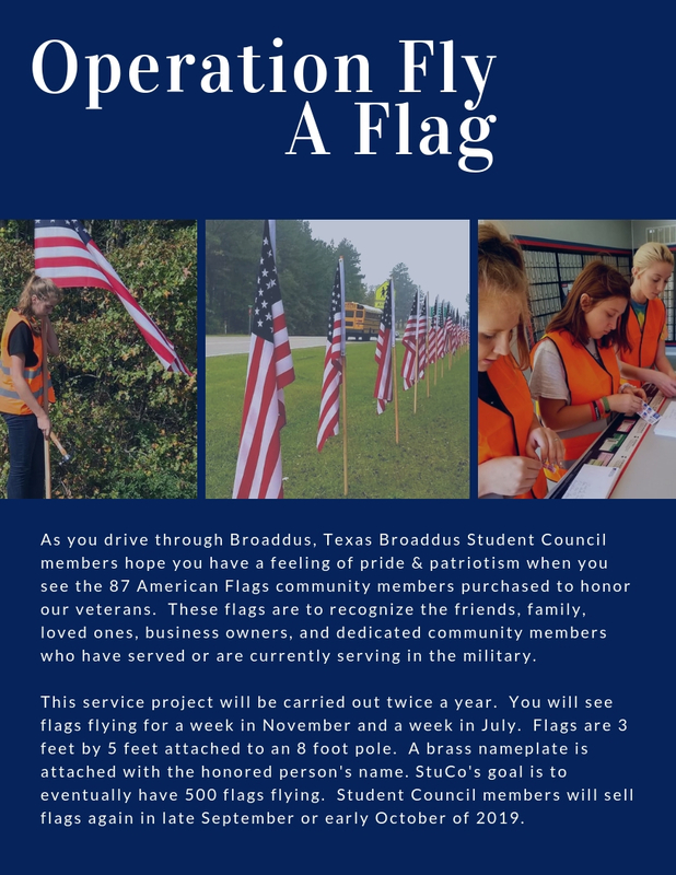 """May we think of freedom, not as the right to do as we please, but as the opportunity to do what is right.""  PETER MARSHALL  Broaddus ISD Fly-A-Flag Committee:   Darby Dominey - Chairman  Kyla Price  Jade Yates Nicole Wells  Cheyenne Adkins Abi Wooden"